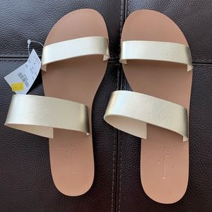 NWT JCrew Factory Gold Sandals Size 8